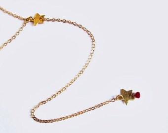 Star Lariat Necklace- Gold Filled, Gemstones