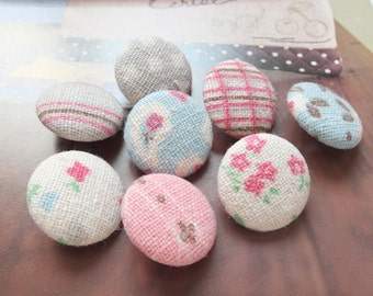 Pink Blue Gray Colorway Dots Stripe Check Paisley Rose Floral Flowers Patchwork-Handmade Fabric Covered Buttons(0.75 Inches, 8PCS)