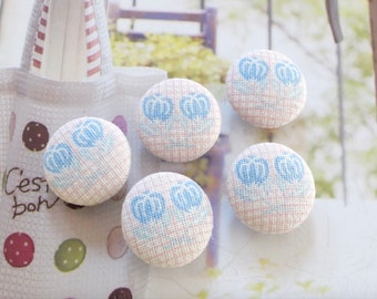 Lovely Nordic Cross Stitch Style Natural Blueberry Flower Floral On Soft Pink Gingham-Handmade Fabric Covered Buttons (0.75 Inches, 5PCS)