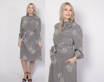 Vintage 80s SILK DRESS / 1980s Minimalist Dove Gray Belted Hibiscus Floral Print Midi Dress