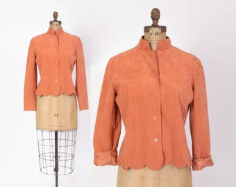 Vintage 70s Peach Jacket / 1970s Cropped Dusty Peach Ultra Suede Scallop Hem Spring Jacket