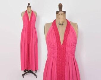 Vintage 70s Halter DRESS / 1970s Fuschia Cotton Crochet maxi Sun Dress