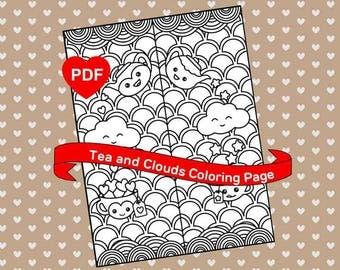 Cute Coloring Page Kawaii Tea Cloud Printable PDF