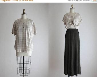 25% SALE silk plaid blouse
