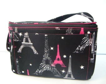 Coupon Organizer Super Large 6 inch Depth Fabric Coupon Organizer Tote  - With ZIPPER CLOSER Black with Pink Eiffel Towers