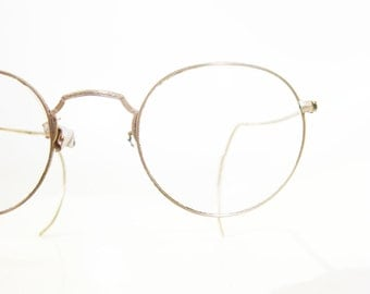 Vintage Antique 1920s Round Wire Rim Eyeglasses Antique Womens Mens Golden Gold Fill Art Deco Benjamin Franklin Classic Bausch Lombe