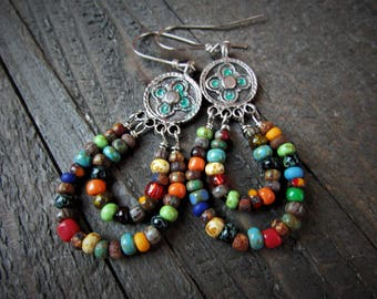 Silver Greek Mykonos Cast Medallions with Rustic Mixed Seed Bead Loops Dangling from Below - BOHO - Gypsy - Hippie