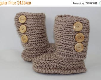 50% OFF SALE Instant Digital File pdf download knitting pattern - 3 Button Childrens Slipper Boots
