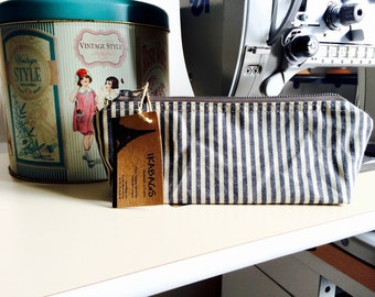 Waxed canvas pouch - waxed canvas bag, black striped travel pouch, zipper pouch, summer gift pouch