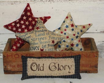 Primitive Americana Flannel Stars with Old Glory Mini Pillow-Bowl Fillers-4th of July-Decoration-Independence Day-Handmade
