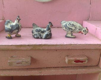 Three Vintage Lead Chickens