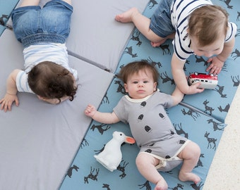 Baby Play mat , Cotton Padded Play Mat for babies  in blue and gray with cool Bambi print