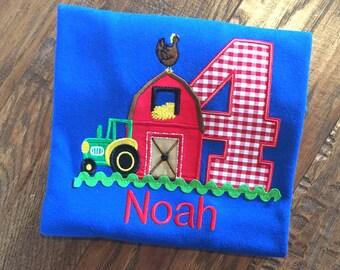 Boys Barn Birthday, Farm Birthday Shirt, Barnyard Birthday,Boys 1st Birthday, Boys Tractor Shirt, Barn Birthday,Barn Shirt,Farmyard Birthday
