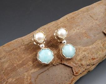Larimar and Pearl Drop Post Earrings