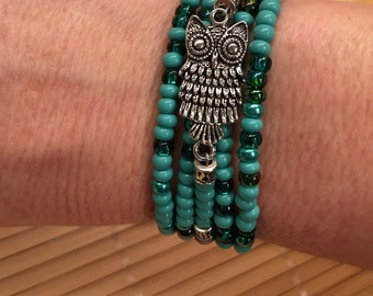 Aqua Green Blue Owl Boho Gypsy Beaded Wrap Bracelet Adjustable - Czech Glass Seed Beads Women's Hippie Jewelry