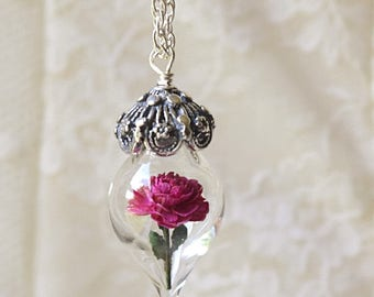 ON SALE Magenta Fuschia Pink Peony Tiny Flower Glass Terrarium Necklace by Woodland Belle