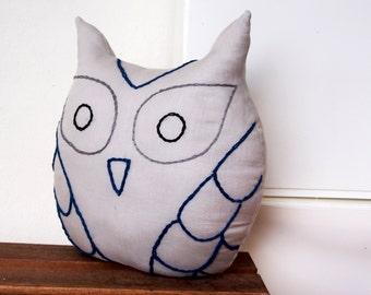 Use coupon code /Linen owl cushion / Hand sewn owl pillow /room decor/Stuffed Owl pillow/linen Decorative Throw Pillow/light grey