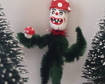 Vintage Style Mushroom Folk Art Chenille Christmas Holiday Feather Tree Ornament