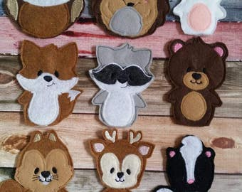 Forest animal - finger puppet - woodland amimal - puppet show- quiet toy - party favor - animal - children -educational - pretend play