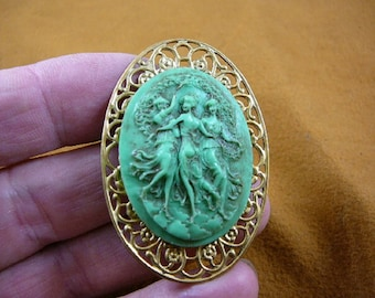 THREE MUSES Graces Faith Hope Charity sisters friends green Cameo pin pendant brass brooch cm160-9
