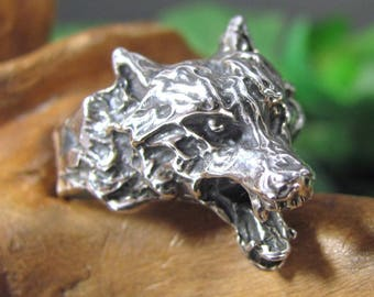 WOLF COYOTE STERLING Ring Size 7 1/2 Werewolf Silver Figural Jewelry