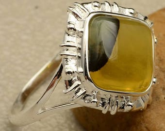 Vintage Sterling Silver Yellow Chalcedony Ring Size 10