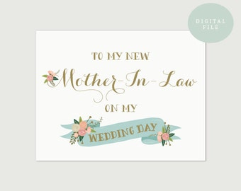 PRINTABLE Parents Wedding Card  Mother In Law Card  Mother-in-law wedding day card  INSTANT DOWNLOAD