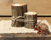 Rustic Wedding Decor, Rustic Candle Holder, Lodge Votive Holder, tree stump candle, outdoorsy party decor, woodsy centerpiece, set of 2
