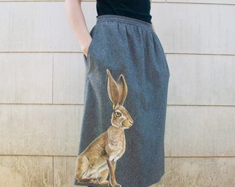 Wild Hare Skirt - one of a kind, handpainted vintage Evan Picone - size 12