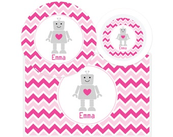 Robot Valentine Plate-Robot Bowl-Robot Placemat-Personalized Robot Dinnerware-Custom Kids Dishes-Personalized Mealtime Set-Valentines