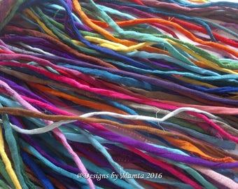 Mixed Colored Dupioni Silk Cords For Jewelry, Handmade Silk String, Silk Cording, 5mm Silk Cords, Thick & Thin Cords, Thin Silk Fabric Cords