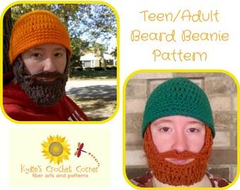 Teen Lumberjack Crochet Pattern, Teen Beard Hat Crochet Pattern, Mens Beard Beanie Crochet Pattern, Mens Beard Hat Crochet Pattern