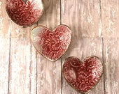 THREE Ceramic Ring Dishes - Mother's Day - Red Pottery Heart Trinket Dish - Decorative Pottery Dish - 281