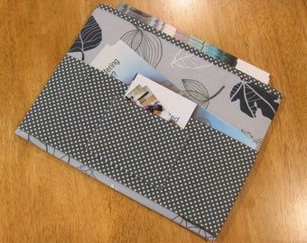Gray Leaves Tract and Magazine Holder, Organizer, Tablet Sleeve