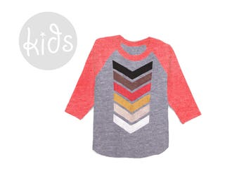 Geo Chevron Raglan Tee - 3/4 Sleeve Crew Neck Baseball Tshirt in Heather Red and Fire - Baby Kids & Youth Sizes