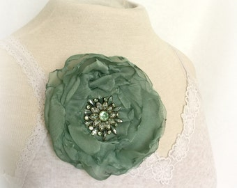 Mint Green Rose - Rose Brooch - Rose Clip - Chiffon Flowers - Rose Pin - Flower Fascinator - Flower Rhinestone Pin - Fabric Flowers - Roses
