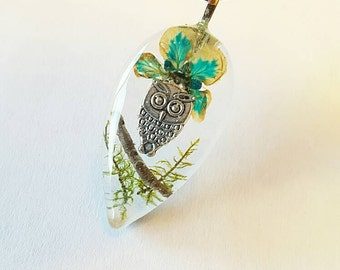 Owl Charm Real Blue Flower Green Moss Tree Branch  Resin Pendant Necklace Nature Earth Animal Bohemian Jewelry