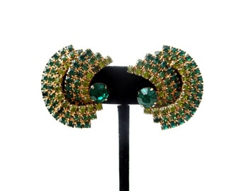 Gorgeous Pair of Glam / Glamorous 2 Tone Green Rhinestone & Gold Tone Metal Vintage Unmarked Clip on Earrings