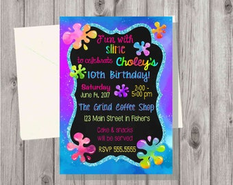 Digital Teen Tween Girl Rainbow Unicorn Slime Making Craft Birthday Party Invitation Printable