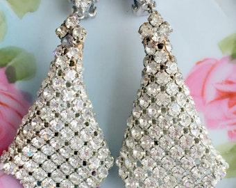"""Vintage Huge Dangle Clear Rhinestone Statement Earrings Bridal Runway 3.5"""" long"""