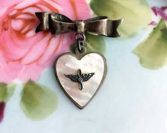 WWII US Army Air Corps Sweetheart Pin Heart Shape Sterling Mother of Pearl Bow