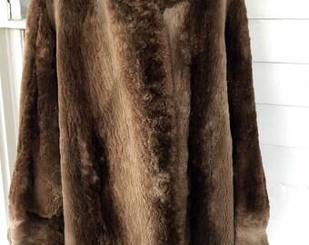 Vintage Sheared Dyed Beaver Fur Coat Jacket Winter M/L