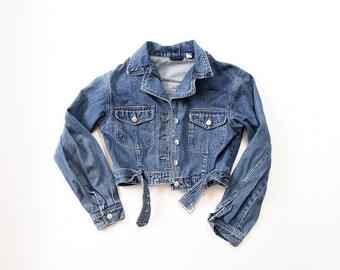 90s Denim Jacket / Womens The GAP 1990s Jean Jacket / Cropped Moto Jacket / Soft Grunge Jumper Cardi / Blue / Small /Medium