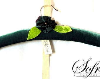 Velvet Forest Hanger | Single Clothes Hanger | Padded Velvet with Silk & Hand-Embroidery | Forest Green | No Slip Feature | 75% Upcycled