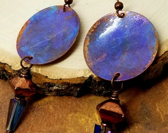 Cobalt Cone and Painted Disc Earrings Copper Discs Hand Painted Plum Aqua Blue AB Crystal