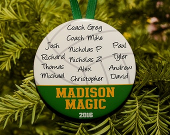 Volleyball Team Coach Christmas Ornament (up to 15 kids) - Team Colors customized - C130