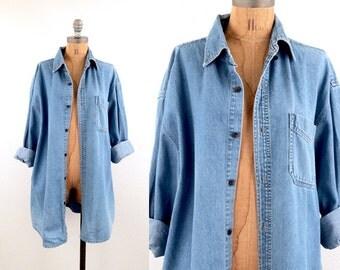 vintage 90s denim CHAMBRAY oversized BOYFRIEND unisex blouse S-L
