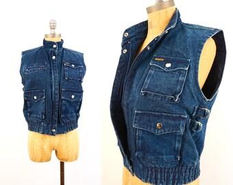vintage 80s dark DENIM 4 pocket JEAN vest M