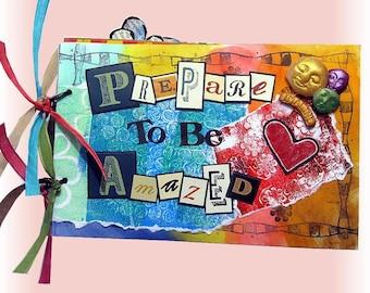 Scrapbook Art, Scrapbook Album,Bright and Colorful, Mini Scrapbook, Girl Album, Art Album, Photo Album, OOAK, Friend Gift, Sister Book