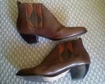 Super cool vintage Aztec brown leather ankle boots Chelsea cowboy Cuban heels UK 5.5 US 8